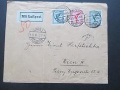 DR 1927 Flugpostmarken MiF Mit Luftpost Berlin Steglitz 1. Nach Wien. Wien 1 Flugpost. 8 Stempel!! Nachporto?! - Briefe U. Dokumente