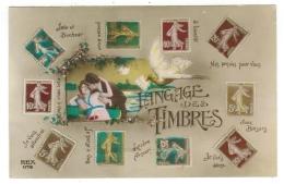 Carte Fantaisie// Le Langage Des Timbres - Cartes Postales