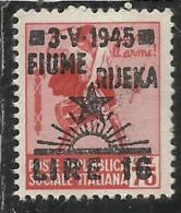 OCCUPAZIONE FIUME 1945 LIRE 16 SU 0.75 SENZA FILIGRANA UNWATERMARK MNH