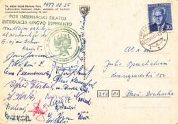 L0238 - Czechoslovakia (1977) Ostrov Nad Ohri 1 (postcard: Karlovy Vary) Tariff: 30 H; ESPERANTO ! - Esperanto