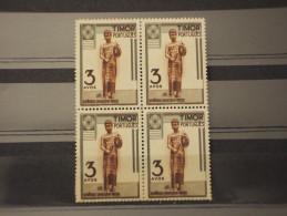 TIMOR - 1948 GUERRIERA 3 A., In Quartina(block Of Four) - NUOVI(++) - Timor Oriental