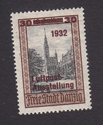 Danzig, Scott #C35, Mint Hinged, Council Chamber On Langenmarket Surcharged, Issued 1932 - Danzig