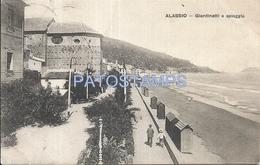 61125 ITALY ALASSIO VIEW PANORAMA GARDEN & BEACH CIRCULATED TO URUGUAY POSTAL POSTCARD - Italia