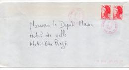 1984-Lettre Tp Liberté 2.00F-cachet Rond 44- NANTES-VIEUX DOULON-GA De Couleur Rouge Pas Courant - Marcophilie (Lettres)