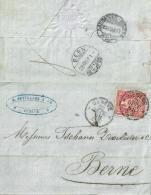 Faltbrief  Genève - Bern  (Bahnstempel)             1868 - 1862-1881 Sitted Helvetia (perforates)