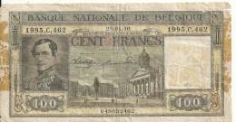 BELGIQUE 100 FRANCS 1946 VG P 126 - [ 2] 1831-... : Regno Del Belgio
