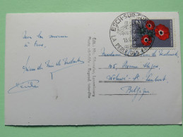 """Luxembourg 1956 Postcard """"Esch Sur Sure / River Mountains Bridge"""" To Belgium - Flowers - Cartas"""
