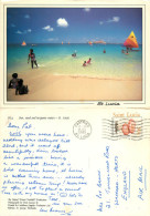 Beach, St Lucia Postcard Posted 1989 Stamp - Saint Lucia