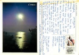 Sunset, Cyprus Postcard Posted 1991 Stamp - Cyprus