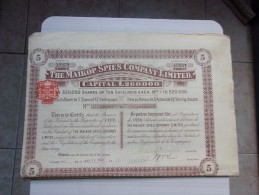 THE MAIKOP SPIES COMPANY (titre De 5 Actions) 1910 - Zonder Classificatie