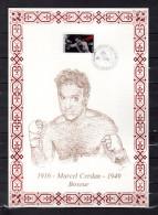 """FRANCE 1991 : Encart 1er Jour N°té / Soie Rare (431/1000) Edit° A.M.I.S. """" MARCEL CERDAN """". N° YT 2729 Parf état FDC"""