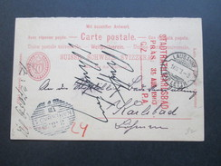 Schweiz Ganzsache P29 Frage / Antwort 1898 Lausanne - Karlsbad. Strichstempel. Mit Handschriftlichem Vermerk - Covers & Documents