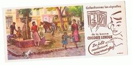 Ancien Buvard Avec Publicité Chicorée Leroux- Illustration Place D'un Village Avec Dilligence Ou Malle-poste - Buvards, Protège-cahiers Illustrés
