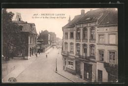 AK Brüssel / Bruxelles-Laeken, La Gare Et La Rue Champ-de-l'Eglise - Laeken