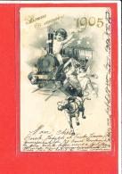 BONNE ANNEE 1905 Cpa Animée Avec Ange Train - Angeles