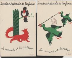 16 / 11 / 129  -   SEMAINE  DE  L'ENFANCE  -  LOT  DE  5  CPA  -  FABLES    - SIGNÉES F. LESOURT - Publicité