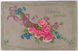 CARTE  BONNE ANNEE  FLEURS  ROSES - New Year