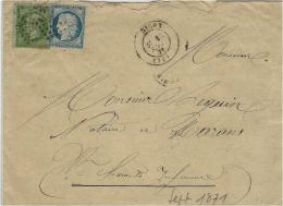 19-SEPT. 1871- Enveloppe De NIORT ( Deux-Sèvres ) Cad T17 Affr. N° 37 + 20 Pour Marans - 1849-1876: Période Classique
