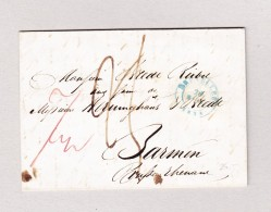 Belgien Bruxelles 28.3.1838 Blau Vorphila Brief Nach Barmen - 1830-1849 (Unabhängiges Belgien)