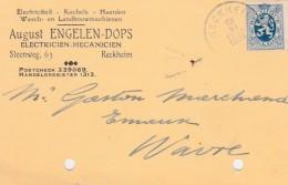 Reckheim,Rekem ,carte Publicité ,August Engelen-Dops ,électricien-mécanicien - Lanaken