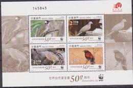 CHINA MACAO MACAU 2001 WWF UCCELLI BIRDS SHEET MNH - W.W.F.