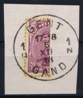 Belgium 1915 OPB Nr 140 Halved And Cancelled In Gent  On Fragment - 1915-1920 Albert I