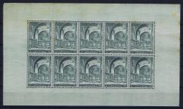 Belgium: 1938 F477 / 477 Complete Sheet  MNH/**/postfrisch/neuf Sans Charniere Koekelberg Brown Spots