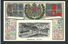 +++ CPA - LUXEMBOURG - LUXEMBURG - BETTEMBOURG - Vue Totale - Carte Fantaisie - Ecusson Blason Relief - Fond Argenté  // - Bettembourg