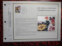 Feuillet CEF XI-e Festival International Du Cirque De Monte-Carlo 1985 - FDC