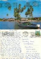Fishing Village, Terengganu, Malaysia Postcard Posted 1992 Stamp - Malaysia