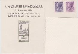 (AKE 118) Esperanto Card From Italy - 47a SAT Kongreso En Bergamo - 1974 - Esperanto