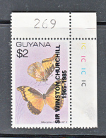 GUYANA - 1985- CHURCHILL OVERPRINT (sg 1599) CORNER COPY  MINT NEVER HINGED, SG CAT £26 - Guyana (1966-...)