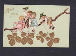 Carte Gaufree Embossed Nouvel An Bonne Annee Enfants Branche Porte Bonheur Trefle 4 Feuilles Chapeau Tyrolien Tyrol - Nouvel An