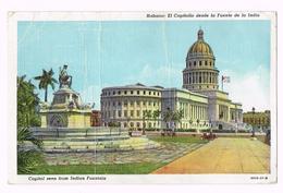 Habana - El Capitolio Desde La Fuente De La Inda - Capitol Seen From Indian Fountain - 1949 - Stamp/timbre - Cuba - Cartes Postales