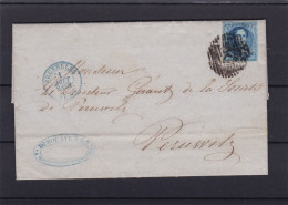 N° 7 Margé / Lettre (Lac ) De BXL Vers Peruwelz Planche IV Position 126   1 AOUT 57 Griffes Transversales - 1851-1857 Medaillons (6/8)