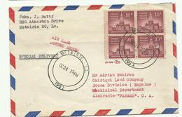 Lettre En Exprès De La Metairie Pour Almirante Panama, Bloc De 4 - United States