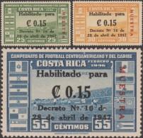 Costa Rica 1947 Y&T PA 143/5 Michel 383/5. Surchargés Muestra, Spécimen.  Stade National De Football De San José - Soccer American Cup