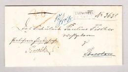 Polen TARNOWITZ 13.5 Im Kasten (1857) Brief Nach Breslau Weitergeleitet Nach Augsburg - Pologne