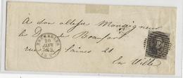 BELGIQUE - 20 JANVIER 1857 (COB N°6) - LETTRE De BRUXELLES  Pour Le DUC De BEAUFORT - 1849-1850 Medallions (3/5)