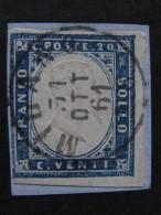 """ITALIA Regno Sardegna -1861-63- """"Effigie In Rilievo"""" C. 20 US° (descrizione) - Sardegna"""