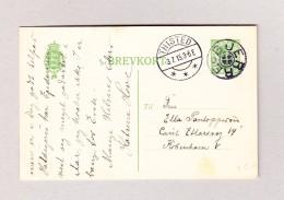 Dänemark THISTED 3.7.1915 Auf 5 Ore Ganzsache Mit Stempel Bjerre Nach Köbenhavn - Postal Stationery