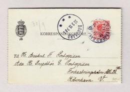 Dänemark VEJLEFJORD Auf 10 Ore Korrespondenz Karte Mit Antwort 30.9.1915 DAUGAARD Nach Köbenhavn - Entiers Postaux
