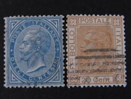 """ITALIA Regno-1877- """"Effigie V. E. II"""" Cpl. 2 Val. (descrizione) - 1861-78 Vittorio Emanuele II"""