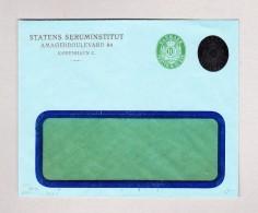 """Dänemark 10 Öre Ganzsachen Fensterbrief Ungebraucht """"Statens Seruminstitut"""" (20 ÖRE Geschwärtzt) - Entiers Postaux"""