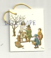 Etiquette Double Cadeaux. Peintre Et Enfants Dans La Neige. 5/6,5 Cm - Cartes Cadeaux