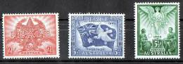 Australia 1946 Peace 1945 Set Of 3 MH  SG 213-215 - Mint Stamps