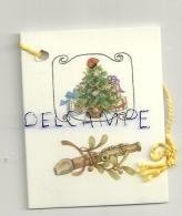 Etiquette Double Cadeaux. Sapin Décoré, Flûte, Gui. 5/6,5 Cm - Cartes Cadeaux