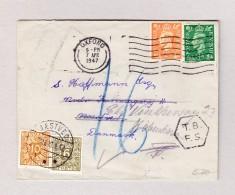 Dänemark NAESTVED 10.4.1947 Taxierter Brief Aus Oxford Mit 6 Und 10 Öre Portomarken - Port Dû (Taxe)