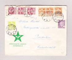 Dänemark ENGESVANG 27.1.1954 Esperanto Brief Nach Pardulice Tschecoslovakei - Danemark
