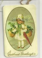 Carte Double De Voeux. Christmas Greetings. Petite Fille Et Paniers De Houx Et Parapluie Dans La Neige - Christmas